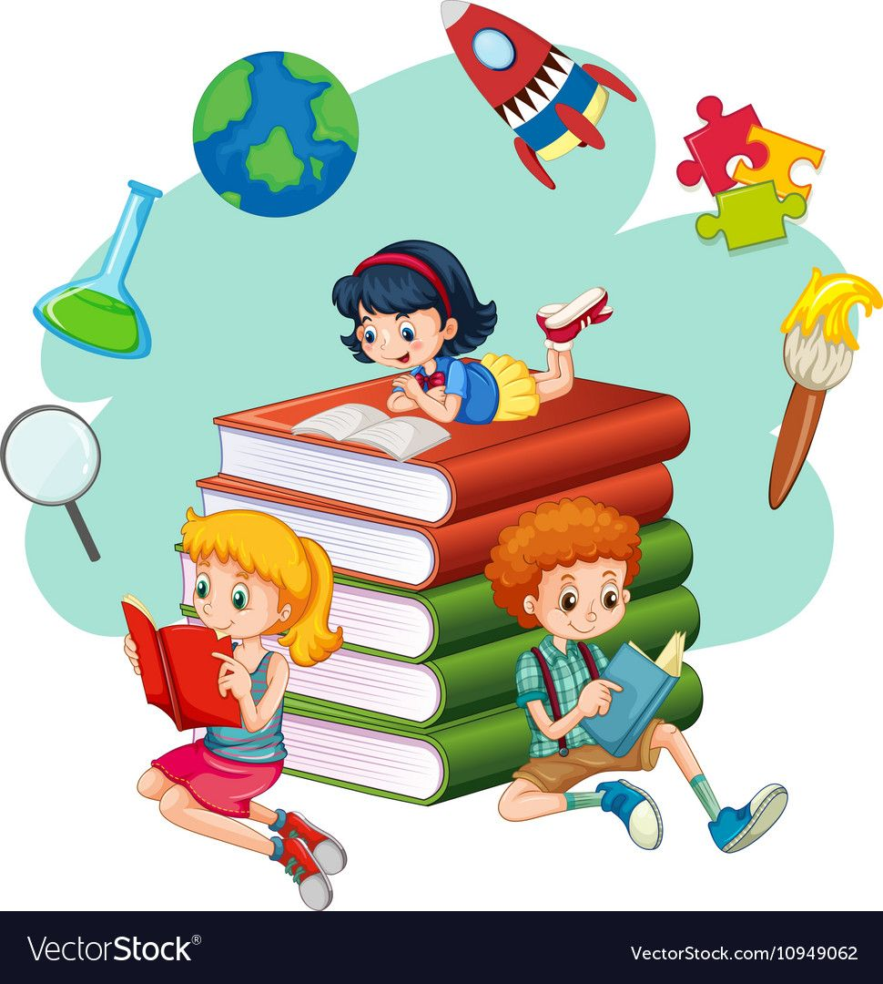 Three Kids Reading Books Download A Free Preview Or High Quality Adobe Illustrator Ai Eps Pdf And High R Kids Reading Books Kids Reading Kids Coloring Books