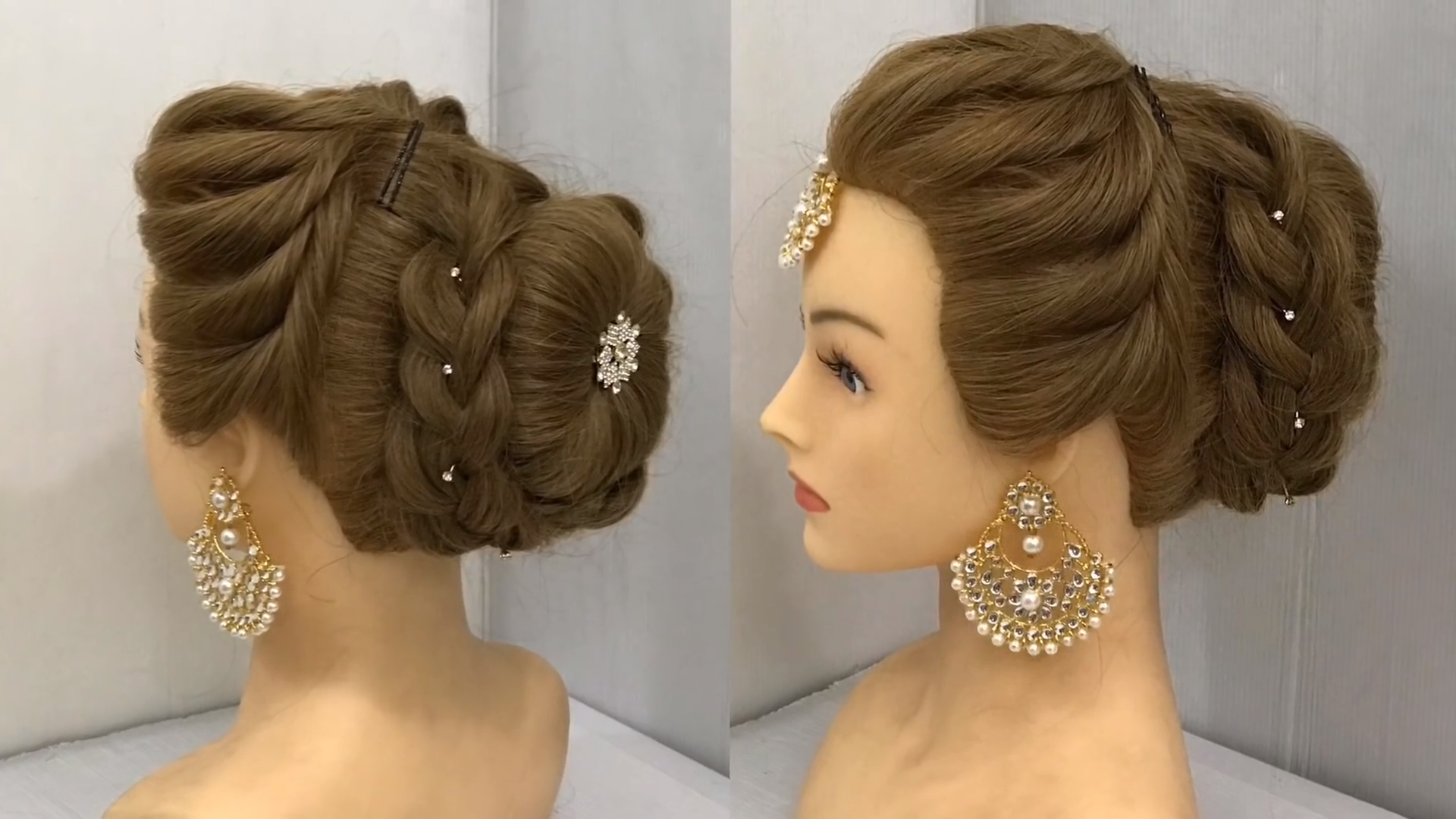 Most Beautiful Hairstyle For Wedding Or Party Easy Hairstyles Bun Hairstyle With Trick Video Wedding Hairstyles Videos Bridal Hair Buns Hair Styles