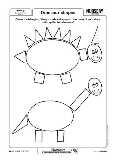 dinosaur shapes worksheet - Shape Pictures To Colour