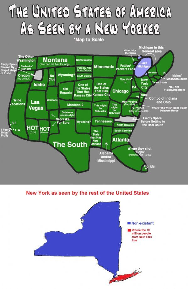 Us Map According To New Yorkers.How New Yorkers See Usa Huh Maps United States Map Hilarious