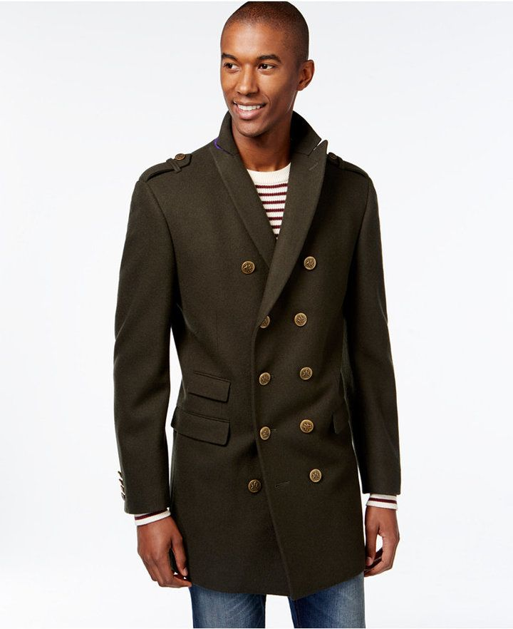 Tallia Big & Tall Double-Breasted Military-Style Peacoat | Men ...