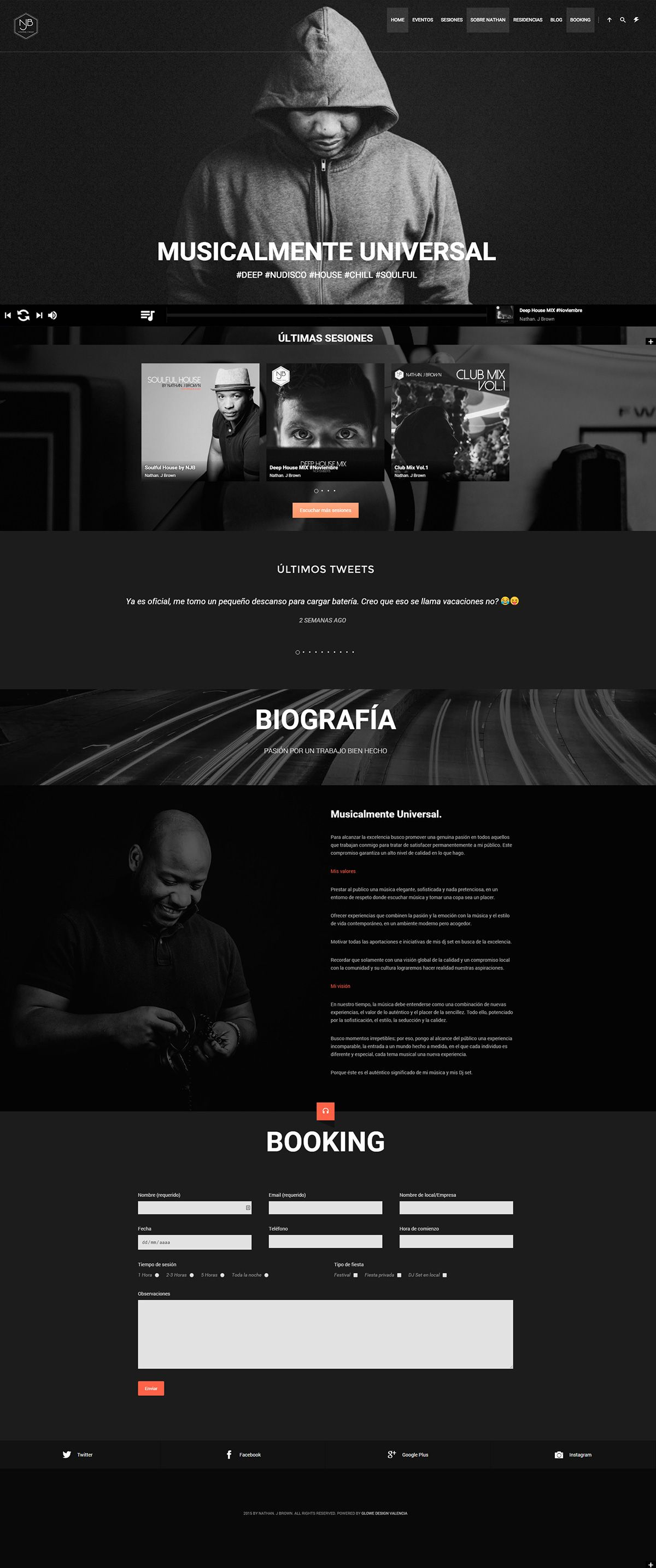 Web Design // Personal Branding Project // Espacio web diseñado por glowe para Nathan J Brown · www.glowemarketing.com · Glowe Copyright © All Rights Reserved