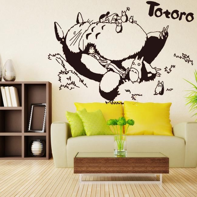 Totoro Vinyl Wall Decal Japanese Cartoon Sticker Kids Bedroom Living Room Anime Home
