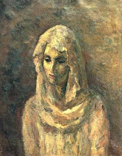 Wearing A White Shawl   by Robert Falk (1886-1958)