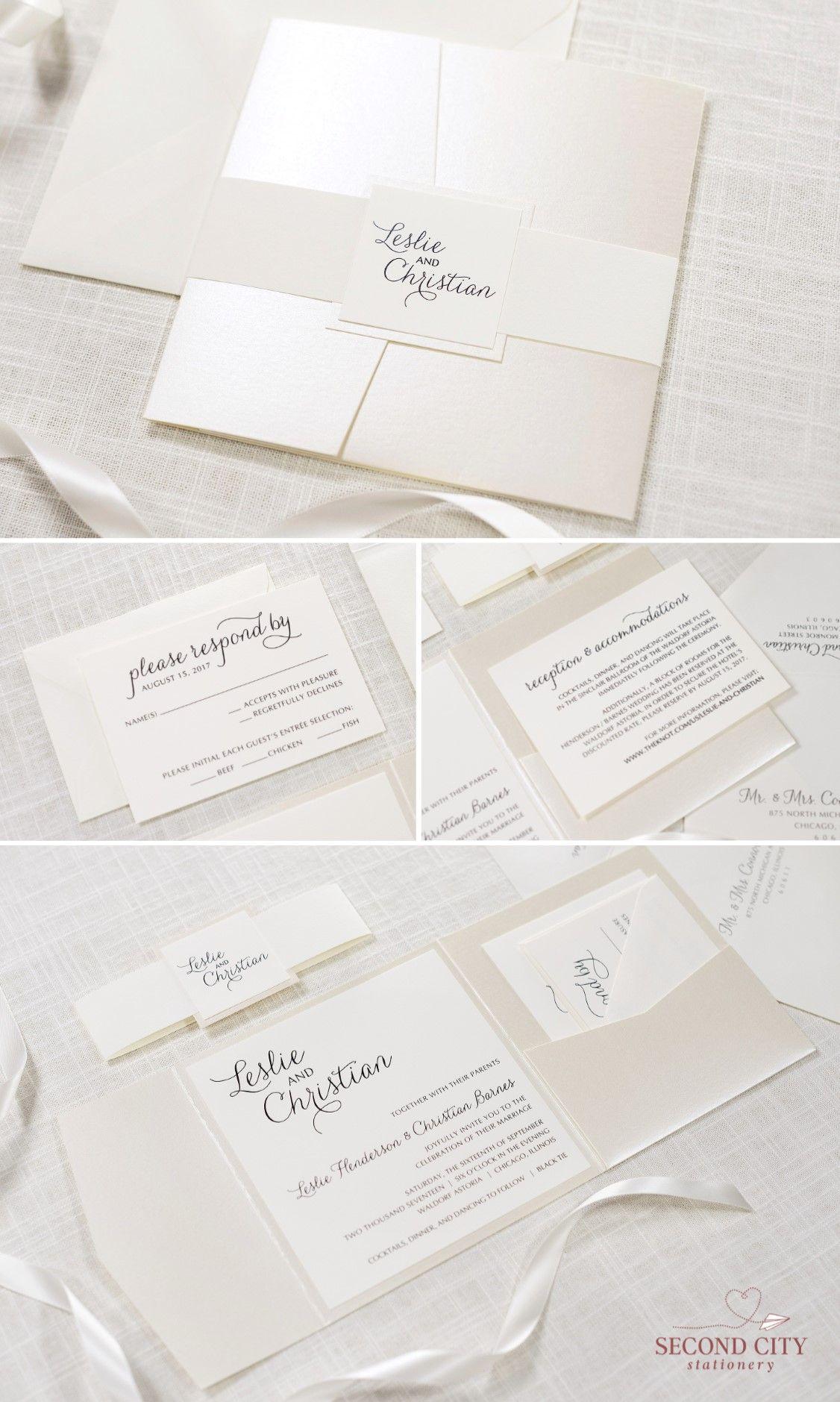 wedding stationery folders%0A Elegant and Formal Cream   Ivory and Champagne   Opal Shimmer Square Pocket  Fold Wedding Invitation