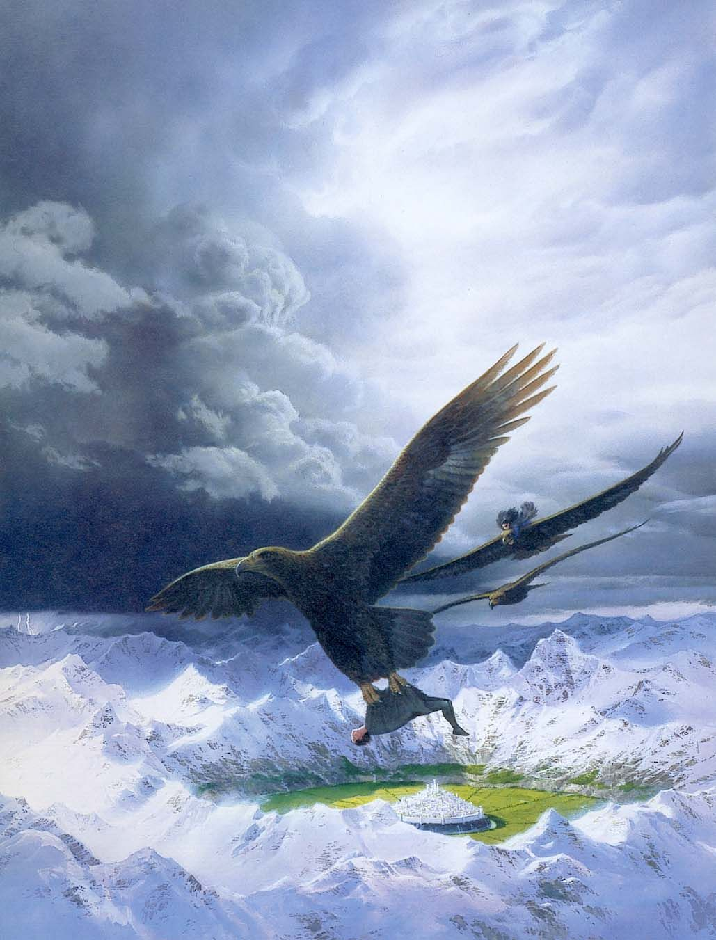 "Eagles over Gondolin by Ted Nasmith. ""But Thorondor took his way far above the earth, seeking the high roads of heaven, where the sun daylong shines unveiled and the moon walks amid the cloudless stars. Thus they passed swiftly over Dor-nu-Fauglith, and over Taur-nu-Fuin, and came above the hidden valley of Tumladen. No cloud nor mist lay there, and looking down Luthien saw far below, as a white light starting from a green jewel, the radiance of Gondolin the fair where Turgon dwelt."""