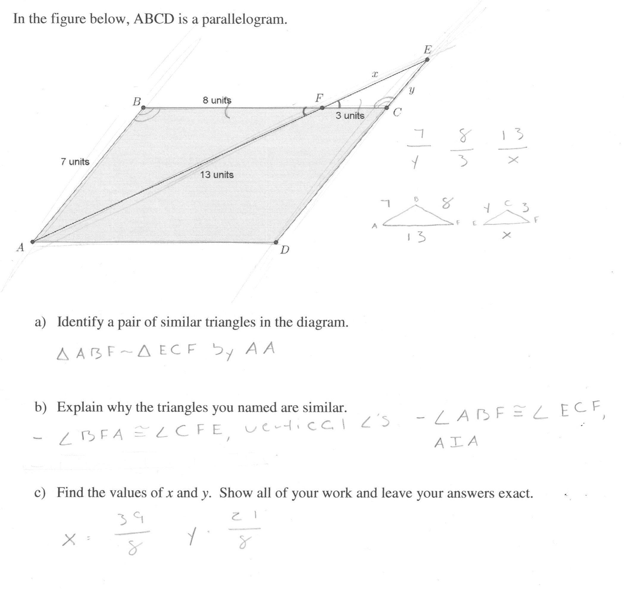 Solving Similar Triangles Worksheet Similar Triangles
