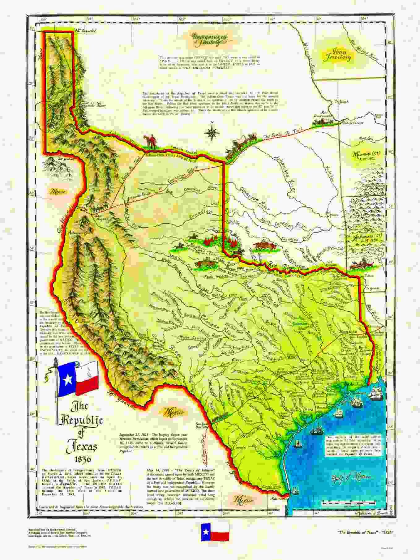 An 1836 map of The Republic of Texas via wwwhistoricalusmaps