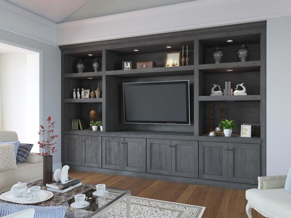 Providence Natural Grey Rta Tv Room Cabinets The Rta Store Built In Shelves Living Room Living Room Built Ins Built In Tv Cabinet