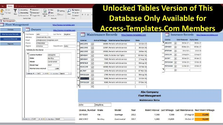 Fleet Management System Software In Ms Access Database | database in