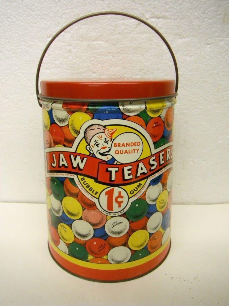 Vintage 1940's Colorful Jaw Teasers 1 Cent Bubble Gum Litho Tin Pail Boston Mass