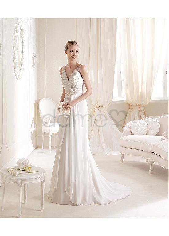 A-Linie Chiffon V-Ausschnitt natürliche Taille bodenlanges ärmelloses formelles Brautkleider