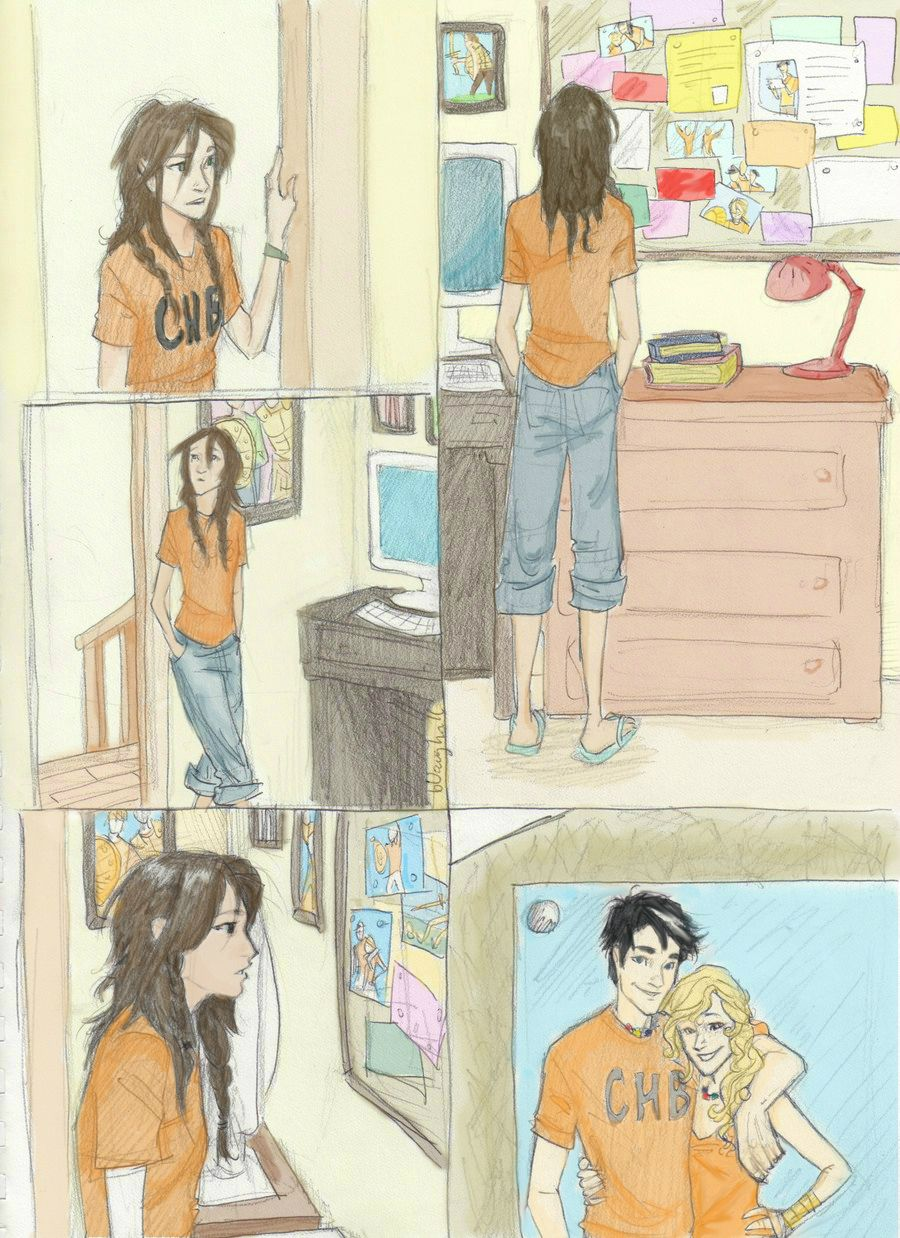 """This makes me tear up, because they look so happy and then I remember one of the first things Annabeth said when she met Leo, Piper, and Jason. """"How long have you been searching for your boyfriend?"""" """"Three days, six hours, and about twelve minutes."""" SHE JUST SOUNDS SO HEARTBROKEN. :'("""