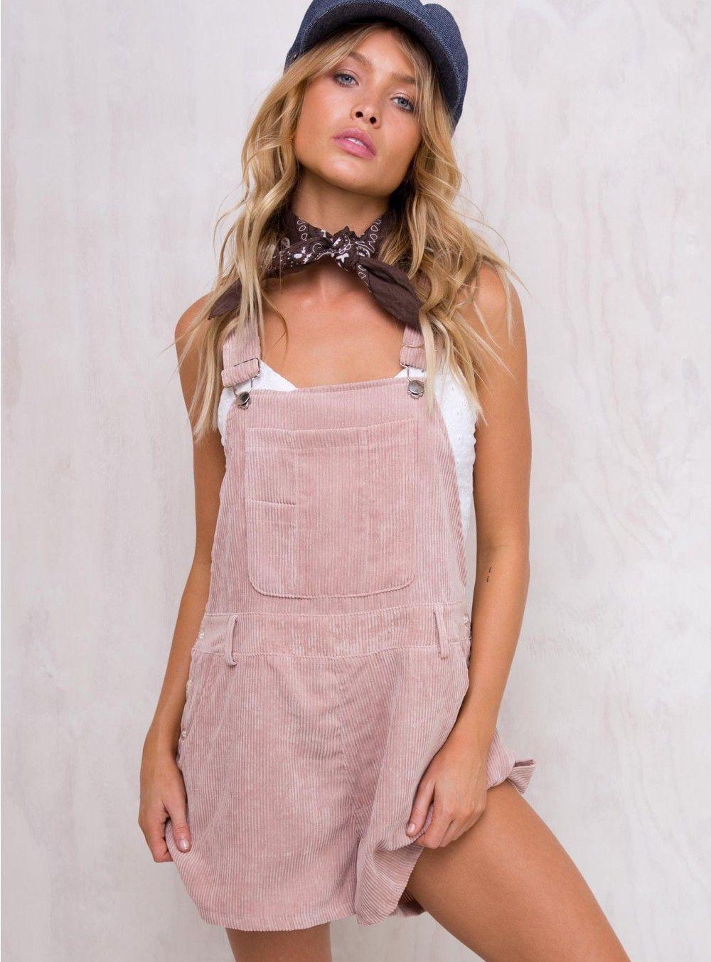 Baby pink dungaree dress  Motel Baby Pink Corduroy Demi Dungaree  Womenus fashion  Pinterest