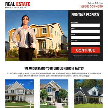 Real Estate Landing Page Design Templates For Real Estate Agents And Broker Business Conversion Real Estate Landing Pages Real Estate Landing Page