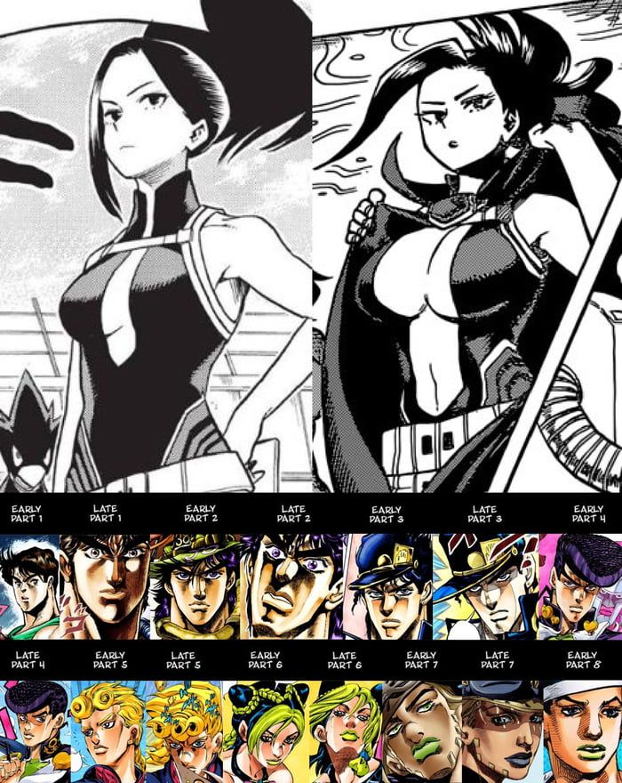 It S Fun To See How A Mangaka S Style Changes Over Time But Boy You Can T Beat Araki Jojo Bizzare Adventure Jojo Memes Anime Memes Funny