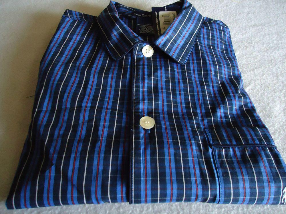 Men Sleep /Lounge Wear TOP New Sz M POLO RALPH LAUREN Blue Plaids Check Cotton  #PoloRalphLauren #SleepLoungeTop