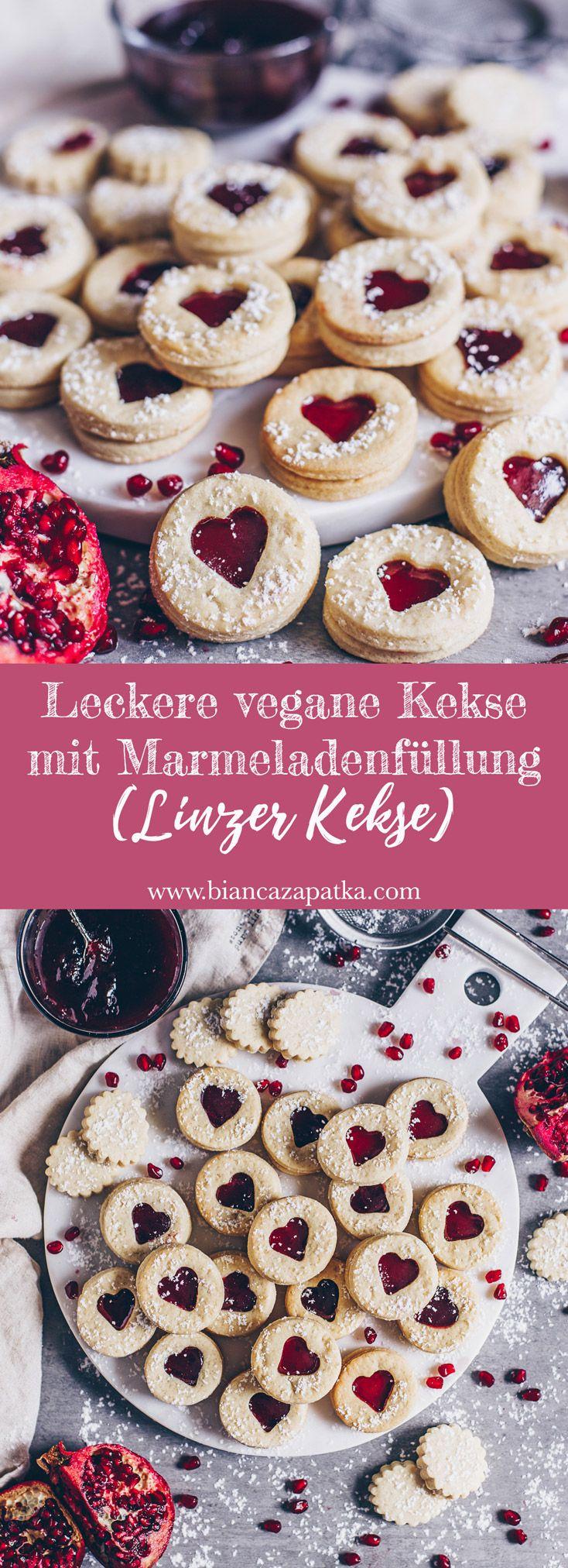 Leckere vegane Kekse mit Marmeladenfüllung (Spitzbuben Plätzchen) - Bianca Zapatka | Rezepte #kuchenkekse