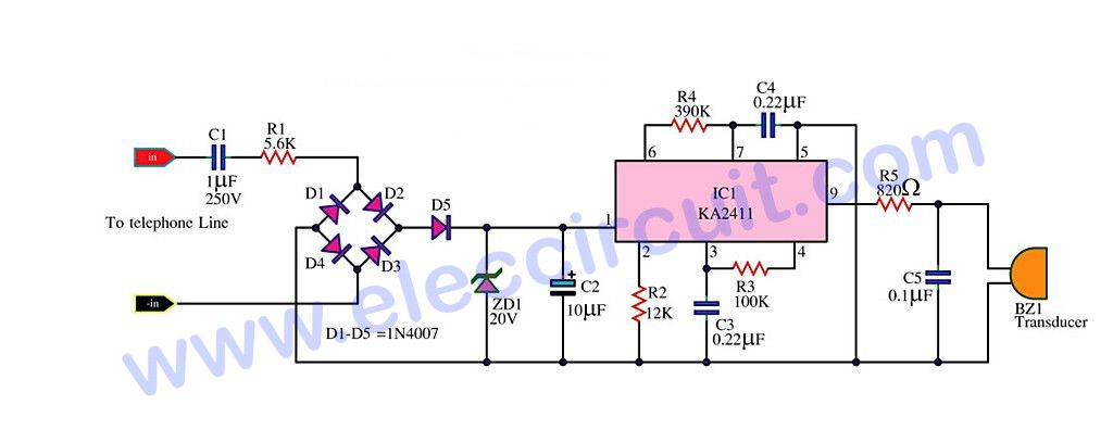 This Telephone Bell Ringer Circuit For Generating The Electricity Bell In The Old Telephone It Is Relatively Loud Can Use T In 2020 Telephone Circuit Electronic Parts