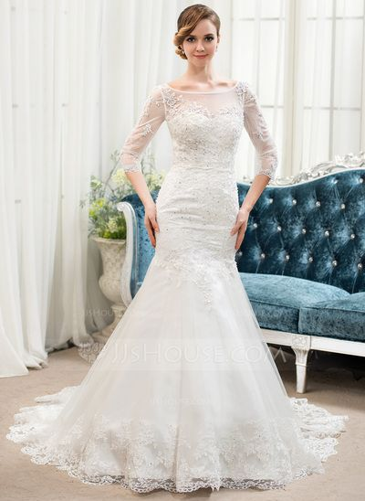 Wedding Dresses - $229.99 - Trumpet/Mermaid Scoop Neck Sweep Train Tulle Lace Wedding Dress With Beading Sequins (002054364) http://jjshouse.com/Trumpet-Mermaid-Scoop-Neck-Sweep-Train-Tulle-Lace-Wedding-Dress-With-Beading-Sequins-002054364-g54364