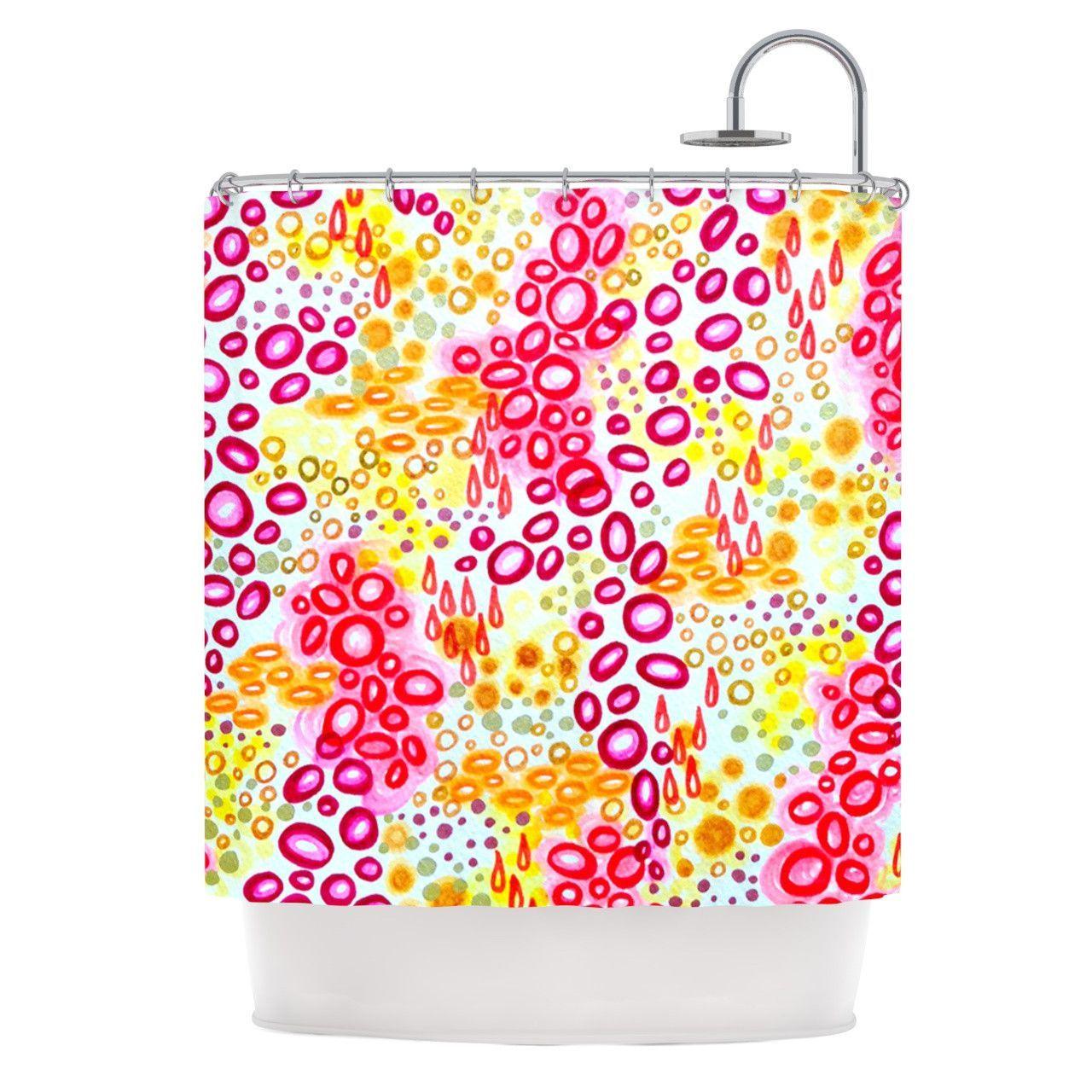 "Ebi Emporium ""Circular Persuasion Pink Yellow"" Magenta Shower Curtain"