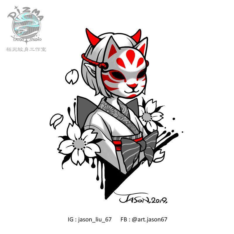 Artstation Tattoo Design Fox Mask Series Jason Liu In 2020 Fox Tattoo Design Kitsune Mask Japanese Tattoo Art
