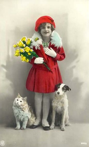 Vintage Tinted photo postcard, girl with cat and dog!