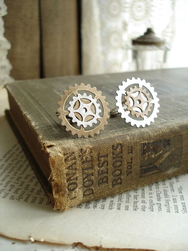 INDUSTRIAL CHIC Jewelry - Steampunk Cufflinks. Antiqued Brass and Silver Gears. Victorian Steampunk  Mens Jewelry. Clockwork Gear Jewelry.. $34.50, via Etsy.