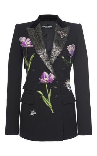 Floral Embellished Blazer  by DOLCE & GABBANA Now Available on Moda Operandi