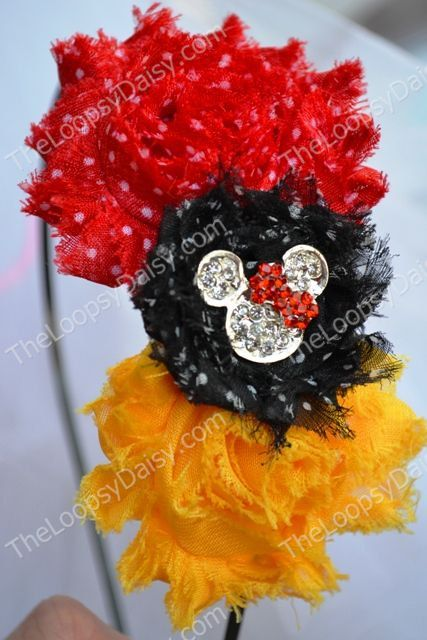 Mickey Mouse inspired Shabby Headband,