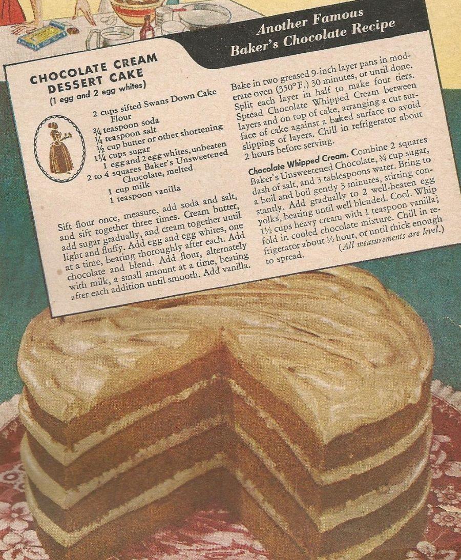 Chocolate cream dessert cake a bakers unsweetened