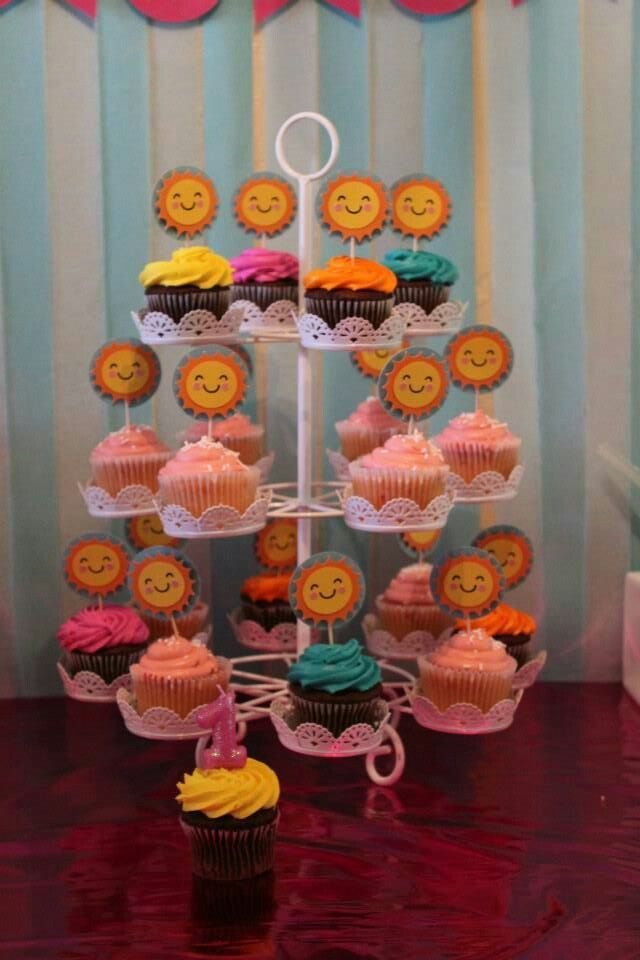I Love This Cupcake Stand Got It From Hobby Lobby Should Have Taken A Closeup Of These Cute Cupcake Sunshine Birthday Sunshine Birthday Parties Cute Cupcakes