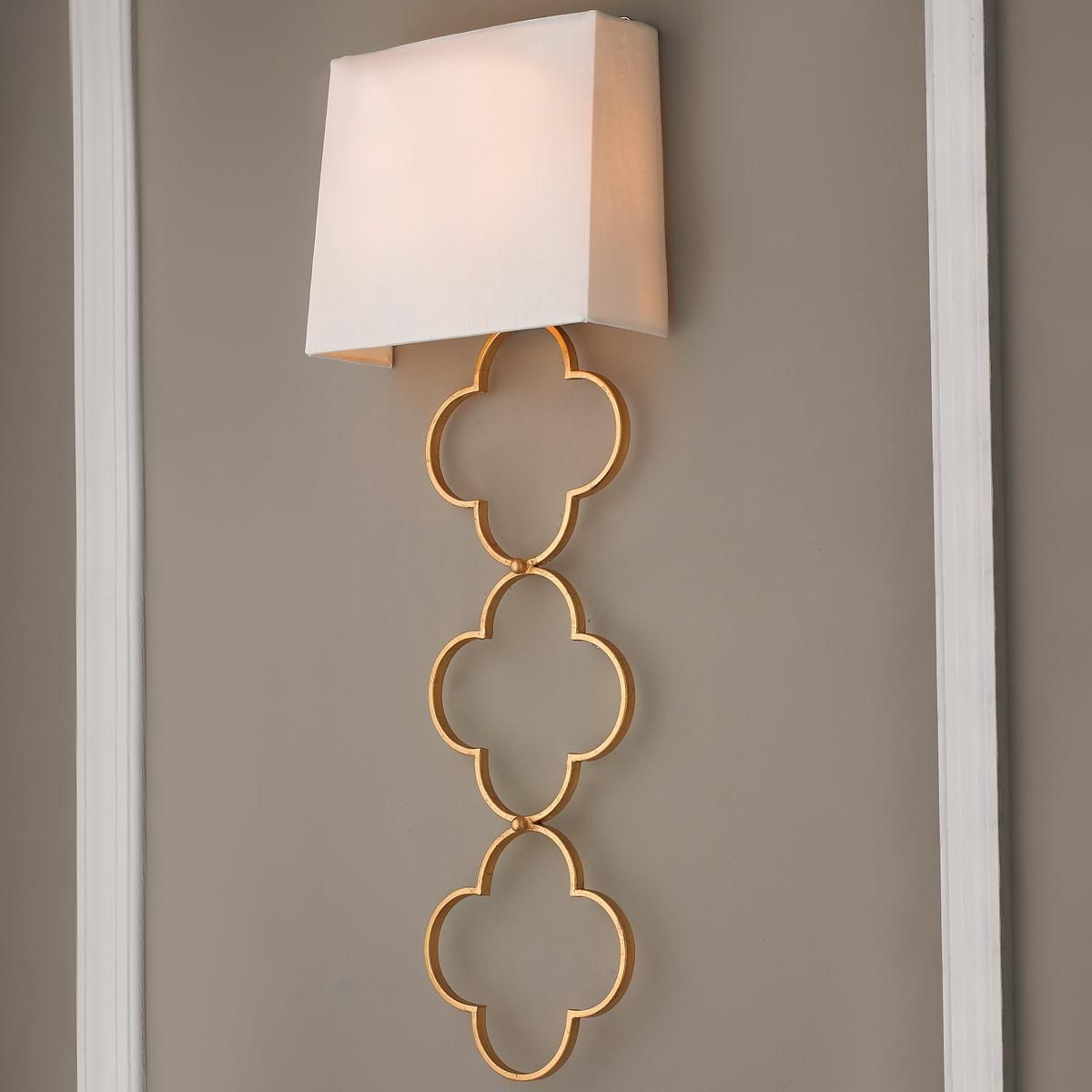 Wall Sconce Half Lamp Shades : ADA Quatrefoil Chain Wall Sconce This stunning wall sconce is sure to catch attention. The ...