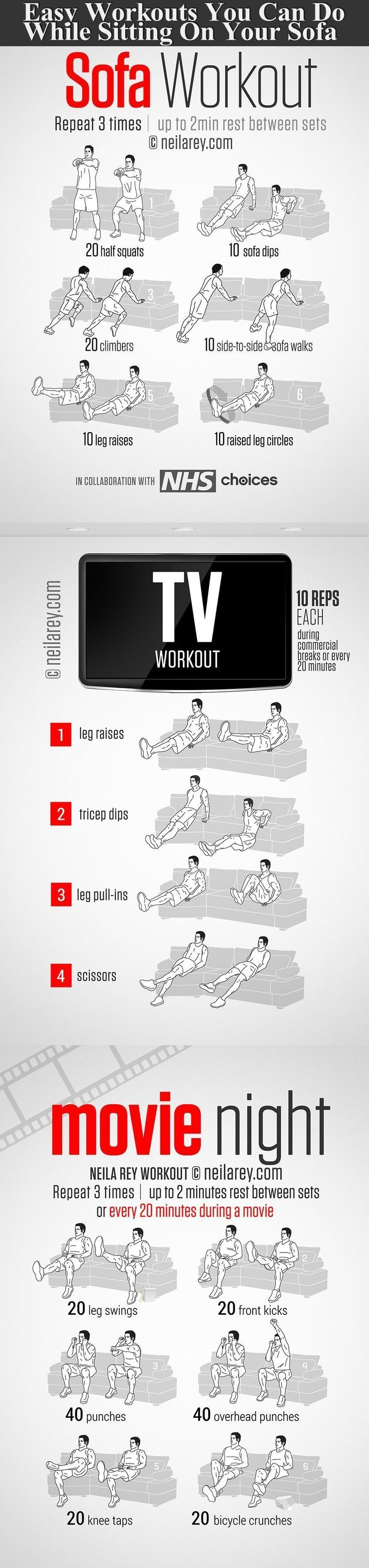 Easy Workouts You Can Do While Sitting On Your Sofa fitness exercise health heal...  Easy Workouts Y...