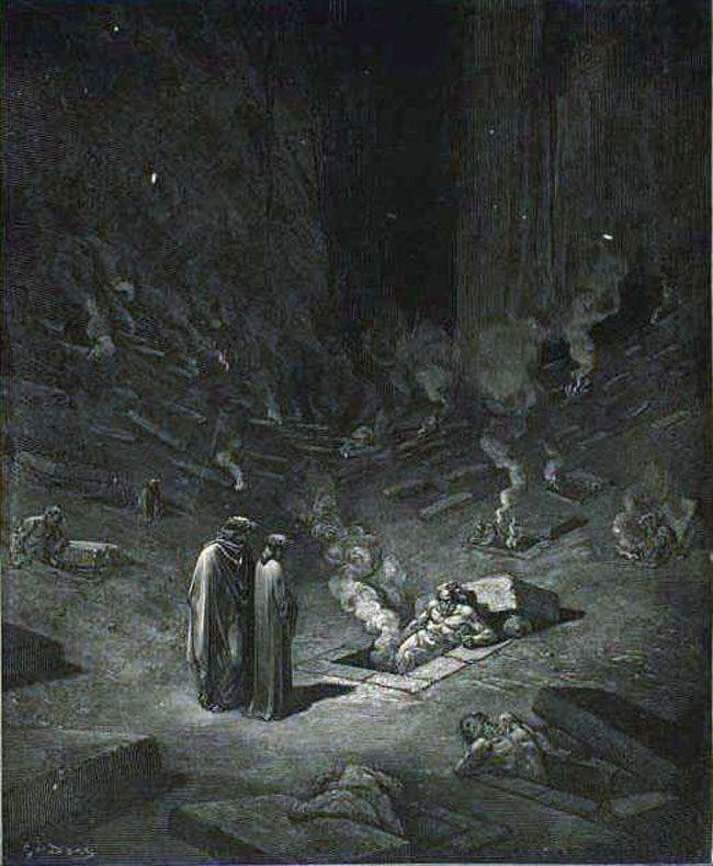 24 Inferno Dante and Virgil among the heretics