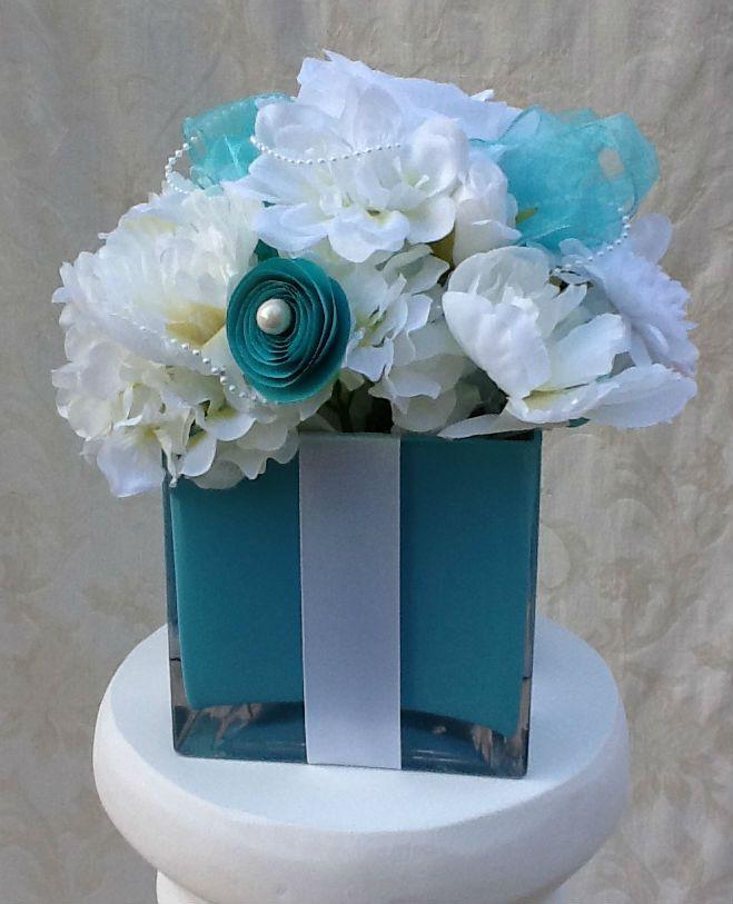 Silk flower centerpiece tiffany themed for wedding bridal for Flower arrangements for sweet 16