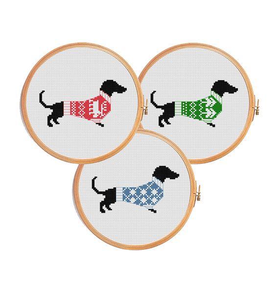 Christmas dachshund cross stitch pattern - dog modern cross stitch ...