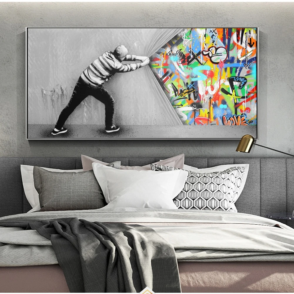 the curtain street art canvas paintings in 2020 living on modern acrylic paintings for living room id=74467