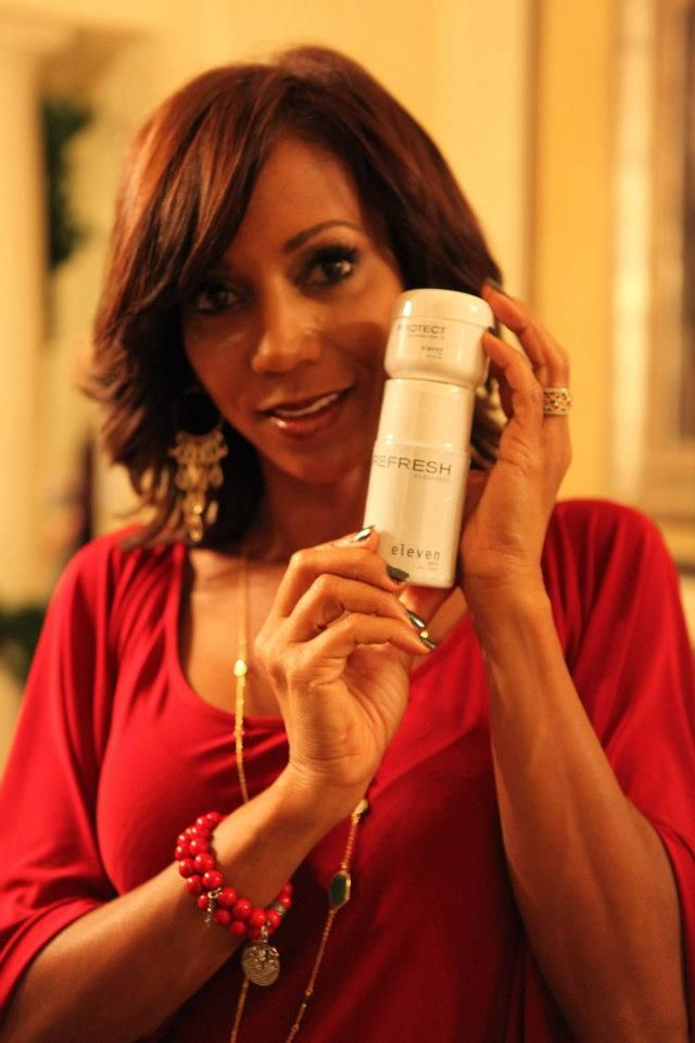 Holly Robinson Peete with ElevenSkin Protect and Refresh skincare.
