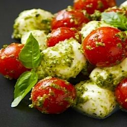 Two of my favorite (Italian) foods - pesto and mozzarella...