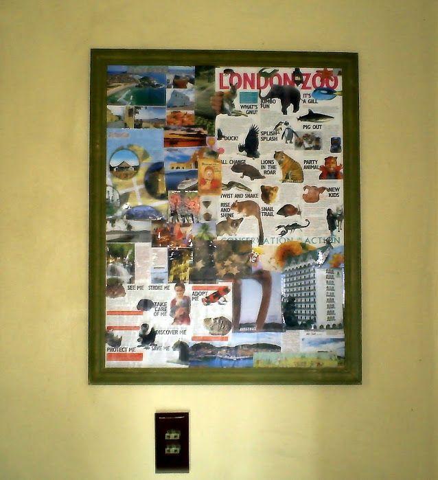 Meu quadro em decoupage com prospectos turísticos e revista