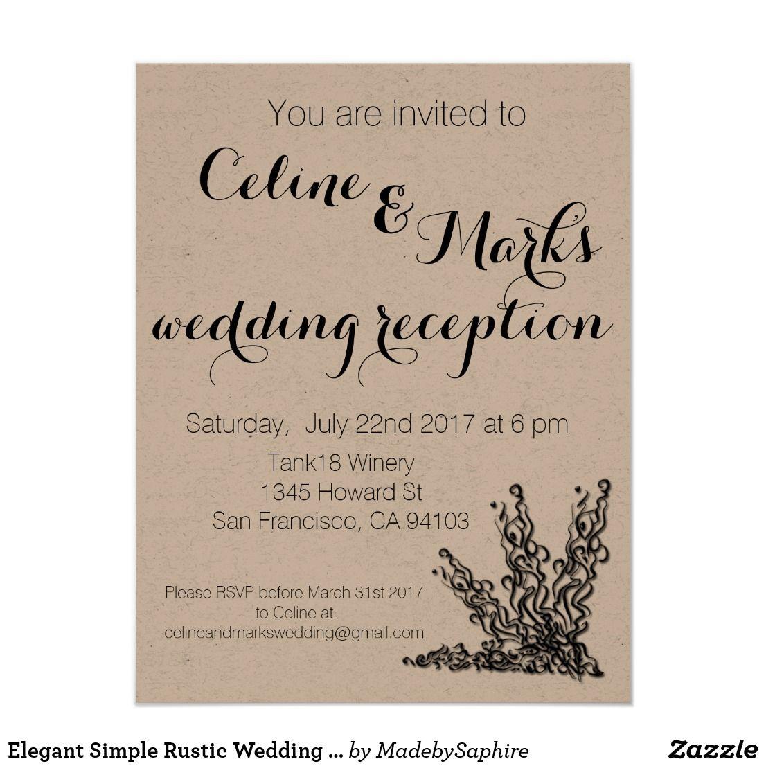 Elegant Simple Rustic Wedding Invitation | Wedding Invitations ...