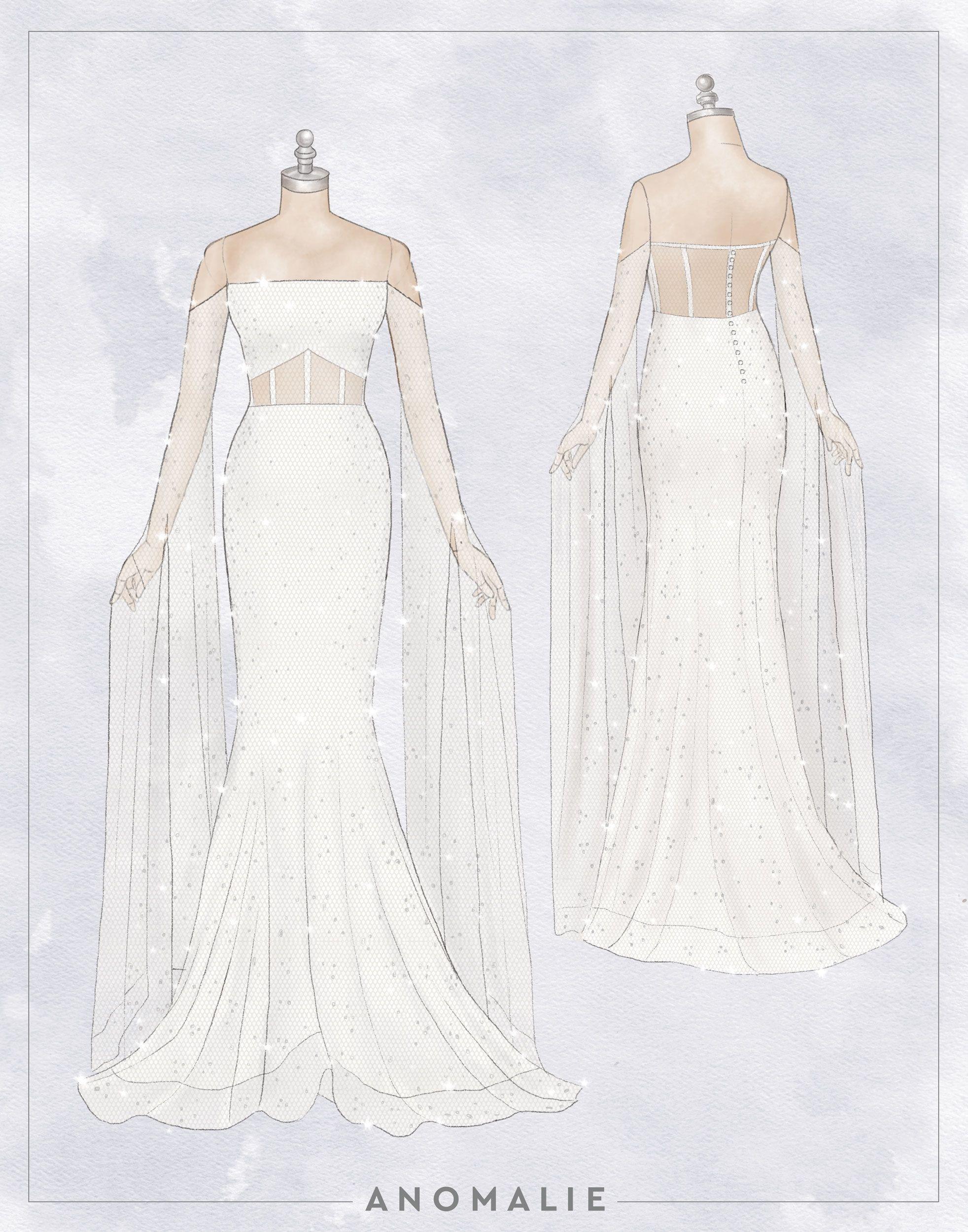 Anomalie Custom Sketch Of Floor Length Bell Sleeves Wedding Dress Weddingdressesdrawing Wedding Dress Sketches Wedding Dresses Dress Sketches