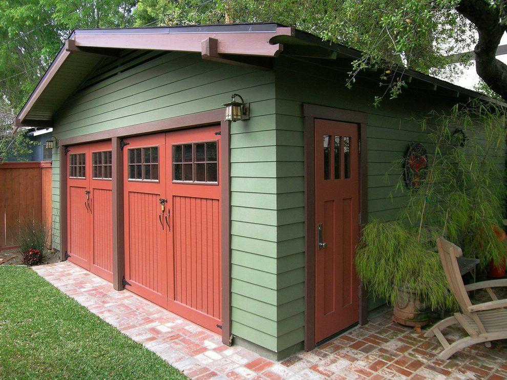 Garage Entry Door Ideas Garage Craftsman With Carriage Doors Green