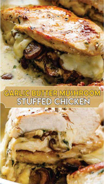 GARLIC BUTTER MUSHROOM STUFFED CHICKEN #chicken #chickenrecipe #chickendinner #easyrecipe #easyfoo