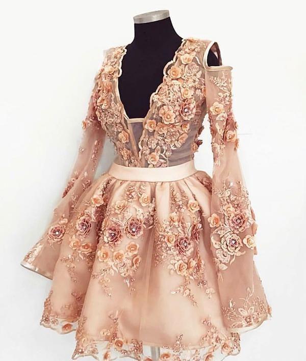 16251450fd Cute champagne lace applique short prom dress