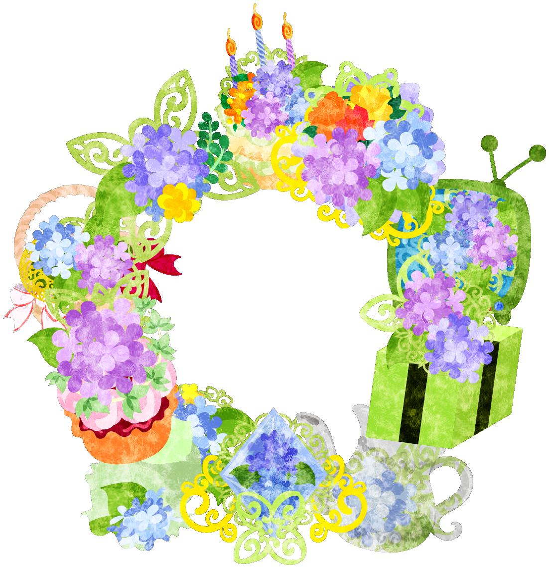 フリーイラスト素材「紫陽花の雑貨で作られたリース」 free