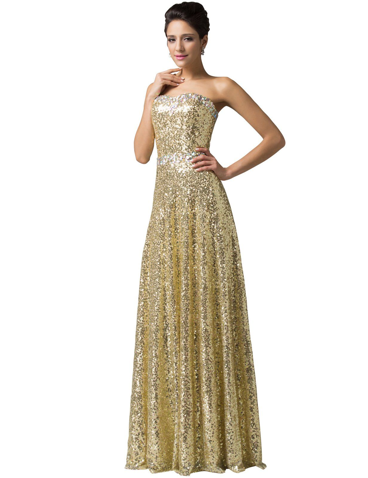 eac2880aca Amazon.com: Grace Karin® Women's Brilliant Beadings Golden Sequins Gown  Prom Dresses CL6103: Clothing