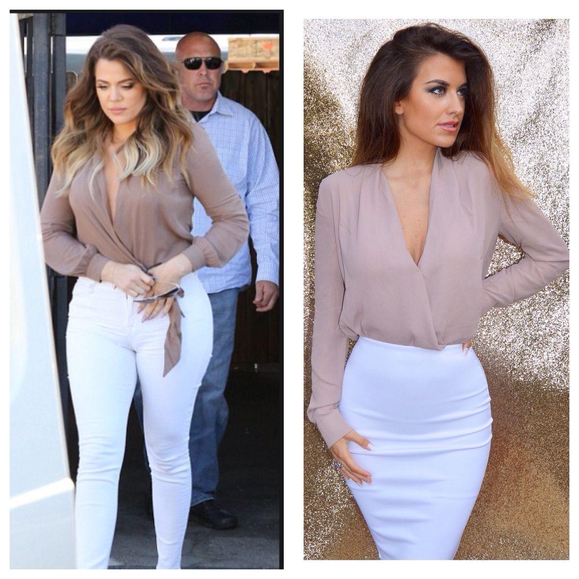 a754774311 Khloe kardashian style nude wrap blouse Celebrity style clothing  www.05boutique.co.uk