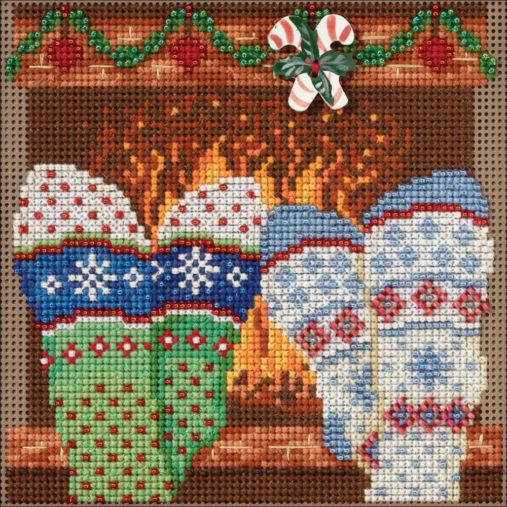Cozy feet buttons beads counted cross stitch kit 5 x